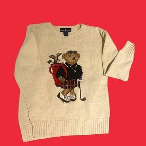RARE Vintage 90s Ralph Lauren Polo Bear Sweater